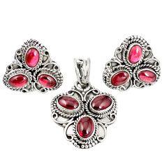 Natural red garnet 925 sterling silver pendant earrings set m17527