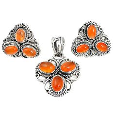 Natural orange cornelian (carnelian) 925 silver pendant earrings set m17532