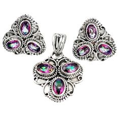 925 silver multi color rainbow topaz pendant earrings set jewelry m17536