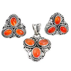 Natural orange cornelian (carnelian) 925 silver pendant earrings set m17539