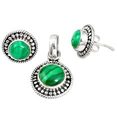 Natural green malachite (pilot's stone) 925 silver pendant earrings set m17555