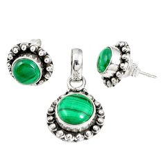Natural green malachite (pilot's stone) 925 silver pendant earrings set m17566