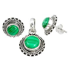 925 silver natural green malachite (pilot's stone) pendant earrings set m17576