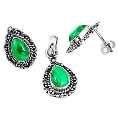 Natural green malachite (pilot's stone) 925 silver pendant earrings set m17590