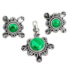 Natural green malachite (pilot's stone) 925 silver pendant earrings set m17594