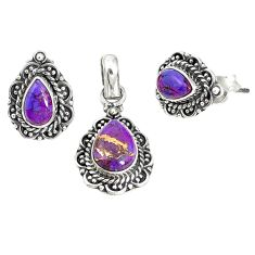 Purple copper turquoise 925 sterling silver pendant earrings set jewelry m17606