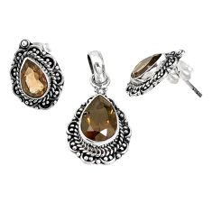 Brown smoky topaz 925 sterling silver pendant earrings set jewelry m17608