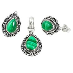 Natural green malachite (pilot's stone) 925 silver pendant earrings set m17609