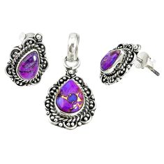 Purple copper turquoise 925 sterling silver pendant earrings set jewelry m17617