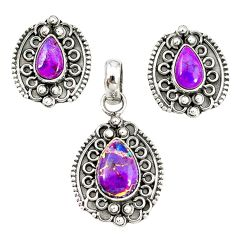 Purple copper turquoise 925 sterling silver pendant earrings set m19654