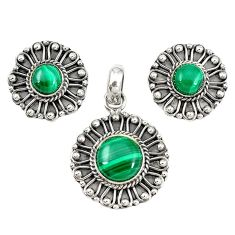 925 silver natural green malachite (pilot's stone) pendant earrings set m19664