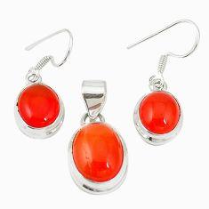 Natural orange cornelian (carnelian) 925 silver pendant earrings set m19686