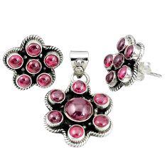 Natural red garnet 925 sterling silver pendant earrings set jewelry m24270