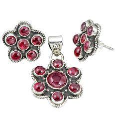 925 sterling silver natural red garnet pendant earrings set jewelry m24275
