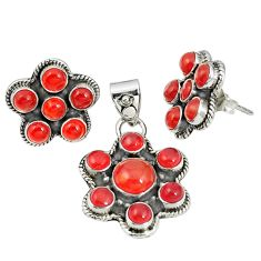 Natural orange cornelian (carnelian) 925 silver pendant earrings set m24280