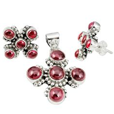 Natural red garnet round 925 sterling silver pendant earrings set m24286