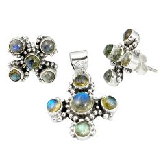 Natural blue labradorite 925 sterling silver pendant earrings set m24294
