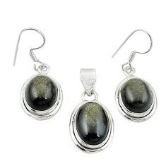 Natural golden sheen black obsidian 925 silver pendant earrings set m25457