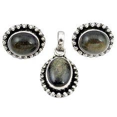 925 silver natural golden sheen black obsidian pendant earrings set m25484