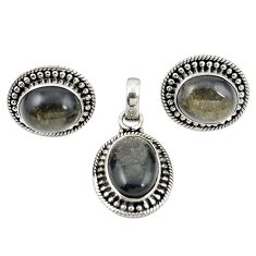 Natural golden sheen black obsidian 925 silver pendant earrings set m25489