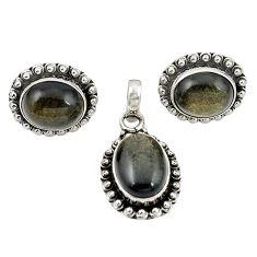 Natural golden sheen black obsidian 925 silver pendant earrings set m25498