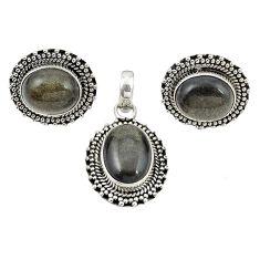 925 silver natural golden sheen black obsidian oval pendant earrings set m25499