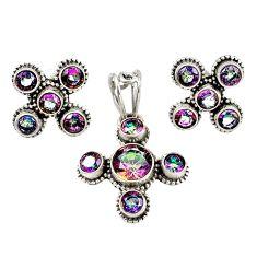 Multi color rainbow topaz 925 sterling silver pendant earrings set m25507