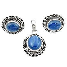 Natural blue kyanite 925 sterling silver pendant earrings set jewelry m25508