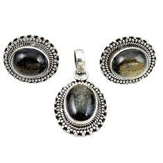 Natural golden sheen black obsidian 925 silver pendant earrings set m25514