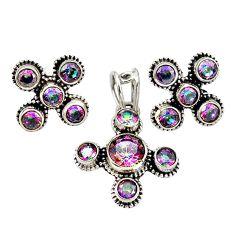 Multi color rainbow topaz 925 silver pendant earrings set jewelry m25515