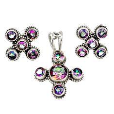 Multi color rainbow topaz 925 sterling silver pendant earrings set m25516