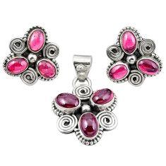 Natural red garnet oval 925 sterling silver pendant earrings set m25521