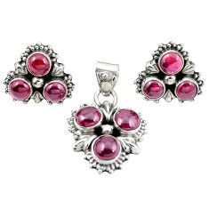 Natural red garnet 925 sterling silver pendant earrings set jewelry m25526