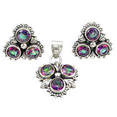 Multi color rainbow topaz 925 silver pendant earrings set jewelry m25527
