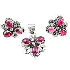 Natural red garnet 925 sterling silver pendant earrings set jewelry m25528
