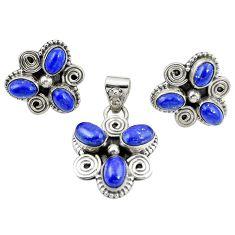 925 sterling silver natural blue lapis lazuli pendant earrings set m25536