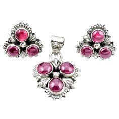 Natural red garnet 925 sterling silver pendant earrings set jewelry m25539
