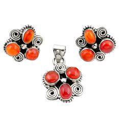Natural orange cornelian (carnelian) 925 silver pendant earrings set m25541