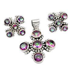 Multi color rainbow topaz 925 sterling silver pendant earrings set m25563