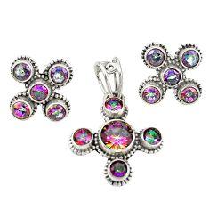 Multi color rainbow topaz 925 sterling silver pendant earrings set m25567