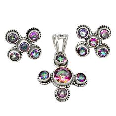 Multi color rainbow topaz 925 sterling silver pendant earrings set m25568