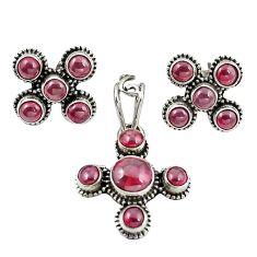Natural red garnet 925 sterling silver pendant earrings set jewelry m25570