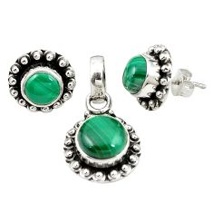 Natural green malachite (pilot's stone) 925 silver pendant earrings set m25587