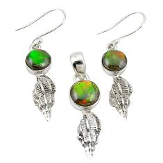 Natural multi color ammolite (canadian) 925 silver pendant earrings set m25603