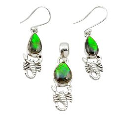 925 silver natural multi color ammolite (canadian) pendant earrings set m25604