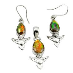 925 silver natural multi color ammolite (canadian) pendant earrings set m25605