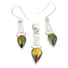 Natural multi color ammolite (canadian) 925 silver pendant earrings set m25606