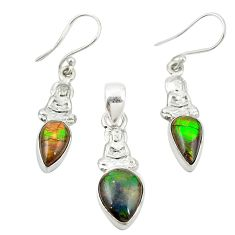 925 silver natural multi color ammolite (canadian) pendant earrings set m25607