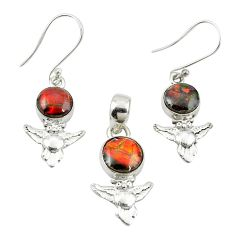 Natural multi color ammolite (canadian) 925 silver pendant earrings set m25609