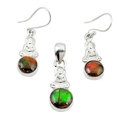 Natural multi color ammolite (canadian) 925 silver pendant earrings set m25612